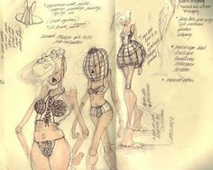 Fashion Sketches in a Moleskine sketchbook  katiedalzell.com