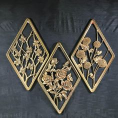 Mid Century Modern Syroco Wood Floral Cutout Wall Plaque Grouping Diamond Shaped Gold Finish Wall Hangings