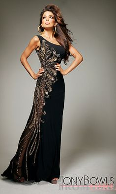 3c9d89e8b5 Long One Shoulder Black Embellished Gown by Tony Bowls