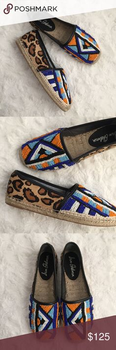 Lida Espadrille Skimmer Flats A bold mix of leopard print calf hair and intricate beading bring global flair to a standout flat finished with an earthy jute-wrapped sole. New with original box! Sam Edelman Shoes Espadrilles