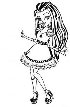 Cute Frankie Stein Monster High Coloring Page