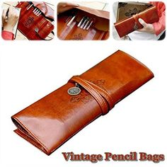 Retro Twilight Theme PU Pencil Bag Students Bandage Leath…