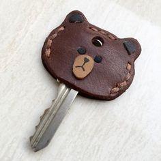 Genuine leather key cover  Brown Bear Leather Key by HandmadeHK
