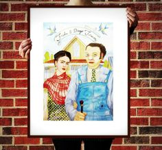 Frida & Diego forever. American Gothic parody with Frida Kahlo and Diego Rivera. Original watercolor. From the ink and watercolor.