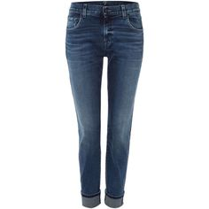 7 For All Mankind Relaxed skinny aged jean in denim mid blue (410 AUD) ❤ liked on Polyvore featuring jeans, denim mid wash, women, tapered jeans, skinny fit jeans, stretch jeans, skinny leg jeans and blue skinny jeans