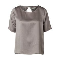 Buy Selected Femme Remmi Silk T-Shirt, Steel Grey Online at johnlewis.com