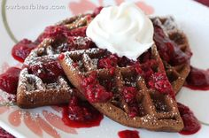 Double Chocolate Waffles with Easy Berry Sauce from ourbestbites.com Dessert for breakfast!