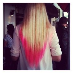 """""""pink ombre"""" I'll never understand how people can confuse ombre and colored tips... But this is cute for colored tips."""