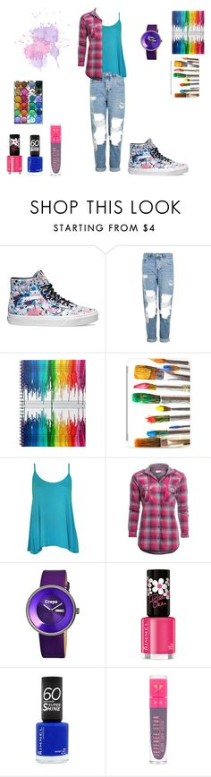 """""""colorful artist"""" by black-on-white ❤ liked on Polyvore featuring Vans, Topshop, Casetify, WearAll, Columbia, Crayo, Rimmel, Jeffree Star and paintiton"""