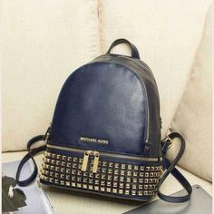 MICHAEL Michael Kors Small Rhea Zip Soft Venus Leather Studded Backpack Navy Blue
