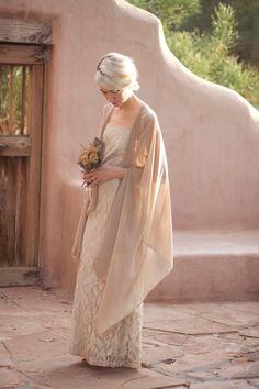 sheer chiffon flowing wedding shrug shawl by BirdyJames on Etsy, $62.00