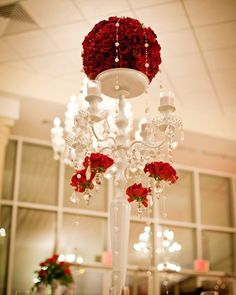 Red Roses and Crystals Centerpiece by Houston Wedding Florist | Sicola's |