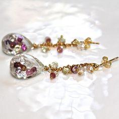 Crystal Rock Quartz Shaker Teardrop Pear Tourmaline Emerald Ruby Sapphire Garnet Keshi Gold Vermeil Chain Dangle Drop Earrings Jewelry