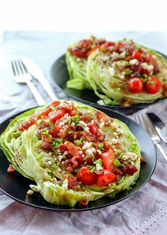 Steakhouse Wedge Salad with a Twist. Crunchy iceberg lettuce bacon tomato and blue cheese combine to create this twist on a classic steakhouse wedge salad. Healthy Salads, Healthy Eating, Healthy Recipes, Clean Eating Salads, Salad Bar, Soup And Salad, Wedge Salad Recipes, Lettuce Wrap Recipes, Twisted Recipes