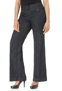 Avenue Plus Size Two Button Denim Trouser, Black Rinse 16 - Get a smart style with these plus size denim trousers. They are a closet staple that can transition from work to weekend with ease. Trouser-style jeans. Front scoop and back welt pockets. Tw