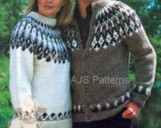 PDF Knitting Pattern Ladies Fair Isle Sweater and Cardigan Knitting Gauge, Knitting Charts, Sweater Knitting Patterns, Free Knitting, Jumpers For Women, Cardigans For Women, Crochet Pattern, Crochet Top, Crotchet