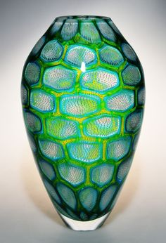 Murrine Glass Art by Michael Waysmith - Fine white filaments surrounded by copper blue and lime green.