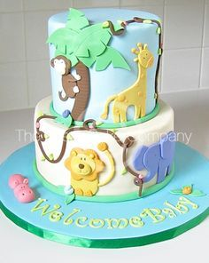 dirtbin designs: My top 10 Baby shower cakes for an expecting baby boy xxx - Baby Shower Ideas Baby Shower Cupcakes For Boy, Elephant Baby Shower Cake, Cupcakes For Boys, Elephant Cakes, Baby Shower Cakes, Safari Baby Shower Cake, Simple Cupcakes, Jungle Cake, Jungle Party