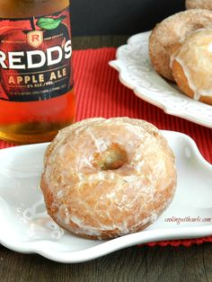 Cake like doughnuts spiked with apple ale, make these Apple Ale Doughnuts a unique fall treat   cookingwithcurls.com