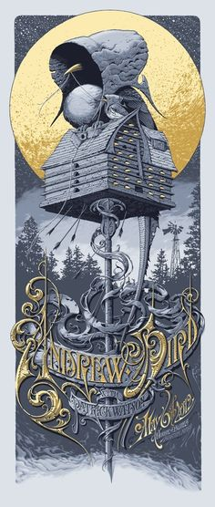 Exclusive: Aaron Horkey's New Poster for Andrew Bird - OMG Posters! Art And Illustration, Illustrations Posters, Andrew Bird, Omg Posters, Graffiti, Bird Poster, Kunst Poster, Poster Prints, Art Prints