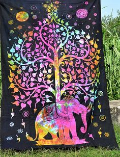 Bedspreads – Multicolor tree elephant Gpsy bohemein wall – a unique product by INDIANTRADITIONAL on DaWanda