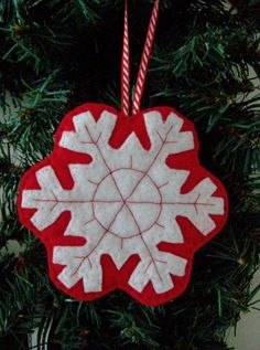 snowflake felt embroidered ornament - like the white on red