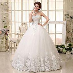 A-line Sweetheart Floor-length Wedding Dress (Lace) – USD $ 119.99