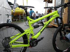 """wow! Banshee's pre-production Rune. 150mm travel, option to run either 26"""" or 27.5"""" wheels with swappable dropouts, floating main rear pivot, pretty low center of gravity, and it's shown with a DB Air shock and Race Face. Color me *very* interested!!!!"""