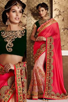 Net Pink, Cream Designer party wear saree with embroidered blouse.