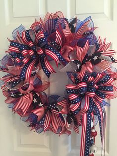 Large Patriotic Wreath Fourth of July Wreath by RoesWreaths