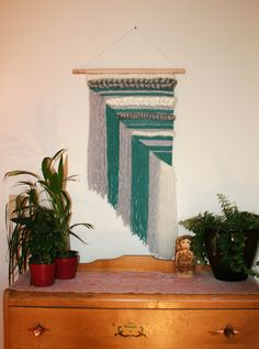Handwoven Wall Hanging - weave home decor - living room - bedroom - textile fibre art - unique art - frame loom weaving Teal Cream Grey