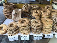 KOULOURIA from Left to Right: 1) Ελιά / Elia (Olive) 2) Ζαμπόν / Zambon (Ham) 3) Γαλοπούλα / Galopoula (Turkey) 4) Τυρί / Tiri (Cheese) #athensstreetfood #koulouri #greekfood #foodtours #greece Athens Food, Deli, Street Food, Coffee Shop, Sweet Tooth, Bakery, Tours, Coffee Shops, Coffeehouse