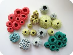 Free Form Crochet Sculptures … looks more like underwater coral to me!  Lovely.  Hand crafted by Cornflower Blue Studio.  Rachel also has an Etsy store.  You can find it here.