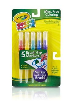 Crayola Classic Color Wonder Brush Tip Markers by Crayola. $7.99. Colors only on Color Wonder Paper. Hours of creative play. Color and magically reveal hidden images. Color Wonder ink appears only on special Color Wonder paper and will never show on kids hands or clothes. Features 5 brush-tip markers in classic marker colors that work like a brush. From the Manufacturer                Crayola Brush Tip Markers work like paintbrushes Includes 5 Brush-Tip Markers in Bright...