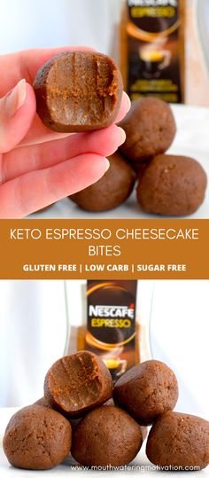 Keto Espresso Cheesecake Bites. Delicious chocolatey coffee flavoured bites. Perfect for a little pick-me-up during the day! These are easy to make and are a great way to add a little caffeine to your morning routine. #ketoespressocheesecake #ketofatbombs #ketocheesecakefatbombs #ketocheesecakebites #lowcarbespressocheesecake Easy Gluten Free Desserts, Keto Desserts, Healthy Dessert Recipes, Keto Snacks, Low Carb Recipes, Keto Chocolate Recipe, Low Carb Chocolate, Low Carb Cheesecake Recipe, Cheesecake Bites