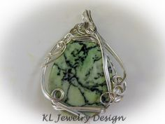 $24.50 Green Jasper Worry Stone in Wire Sculpted Silver Pendant by KLJewelryDesign on Etsy