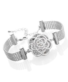 Love this Crystal & White Gold Rose Bracelet by Silver & Co. on #zulily! #zulilyfinds