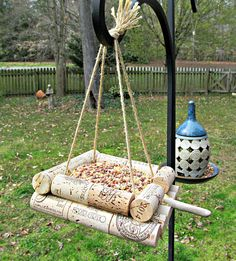 Items similar to Wine Cork Bird Feeder - Bird Lovers, Outdoo.- Items similar to Wine Cork Bird Feeder – Bird Lovers, Outdoor Yard Decor on Etsy Items similar to Wine Cork Bird Feeder – Bird Lovers, Outdoor Yard Decor on Etsy - Wine Craft, Wine Cork Crafts, Bottle Cap Crafts, Wine Cork Birdhouse, Wine Cork Art, Wine Corks, Wine Cork Projects, Diy Bird Feeder, Outdoor Crafts