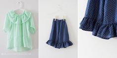 adorable set of patterns consisting of a top, pants, dress, and skirt