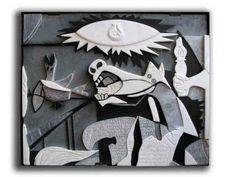 """Interpretazione del """"Guernica"""" di P.Picasso. Tarsia in rilievo, marmi e pietre. Sez. Decorazione plastica, anni 70-80 (ph. & gr. A.Bertolaccini). ISA Stagi."""