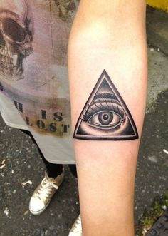 Unique Grey Ink Illuminati Eye Tattoo Design