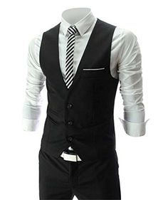 Zicac Men's Top Designed Casual Slim Fit Skinny dress Vest Waistcoat (XL(Asia Tag 3XL),Black) Zicac