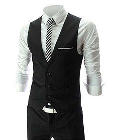 Zicac Men's Top Designed Casual Slim Fit Skinny dress Vest Waistcoat (XL(Asia Tag 3XL),Black) Zicac