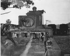 M3 light tank crew peering out from opened hatches Fort Benning Georgia United States 18 December 1941.