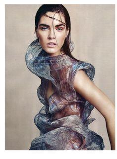 Model Hilary Rhoda, wearing Alexander McQueen, Photographer Paola Kudacki for Bazaar