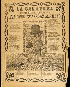 "A number of charming skeletons have been floating around Instagram as Halloween approaches. One or two have even been clothed in bourgeois attire. But how many of them have been bearded?? The Mexican designer Jose Guadalupe Posada created penny press broadsides (called ""calaveras"") using #DayoftheDead imagery to lampoon the social and political elite of his day. In this one, he took playful aim at his own printer, Antonio Vanegas Arroyo."