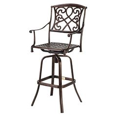 Palm Springs Copper/Wrought Iron Effect Outdoor Patio Bar Stool/Swivel Chair Metal Outdoor Bench, Patio Bar Stools, Outdoor Bar Stools, Swivel Bar Stools, Swivel Chair, Bar Chairs, Chair Cushions, High Chairs, Desk Chairs