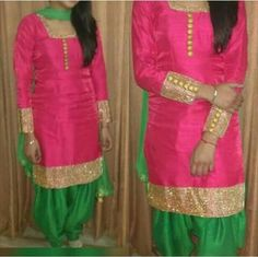 Hot pink with gold patti work