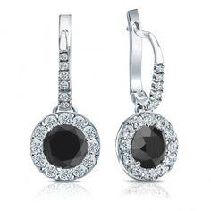 Certified 14k White Gold Dangle Studs Halo Round Black Diamond Stud Earrings 3.00 ct. tw.