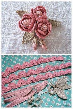 lo spazio di lilla: Bouquet di roselline con boccioli all'uncinetto, con sch… the space of lilac: Bouquet of little roses with buds, with pattern / Crochet rosettes, free charts Crochet Simple, Crochet Diy, Crochet Tote, Freeform Crochet, Love Crochet, Crochet Crafts, Crochet Flowers, Crochet Projects, Diy Flowers